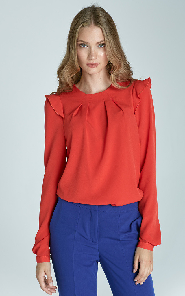 Red Blouse With Frill Shoulders by Lanti