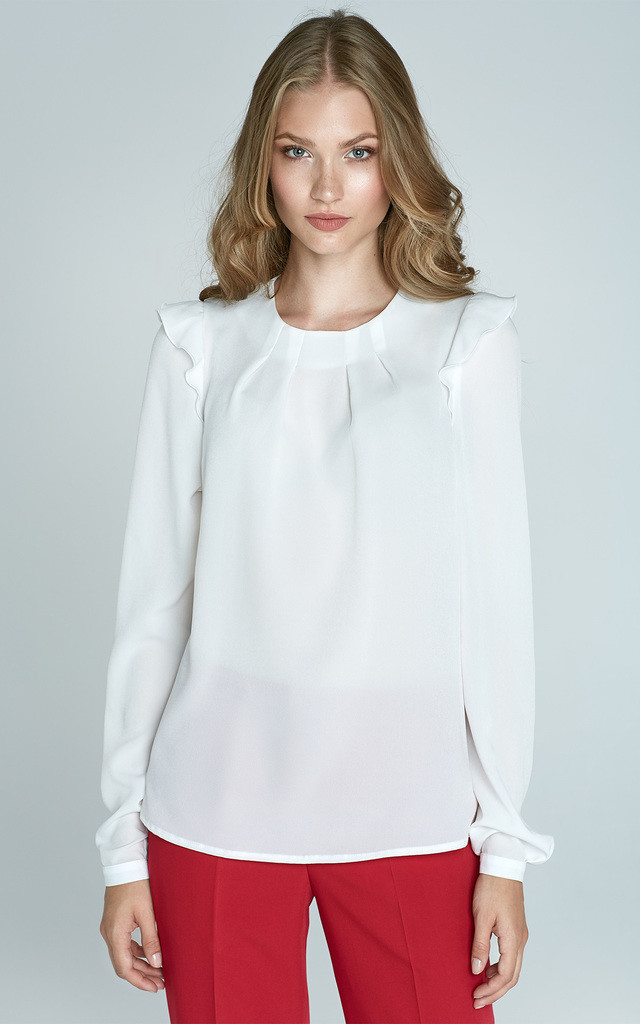 White Blouse With Frill Shoulders by Lanti