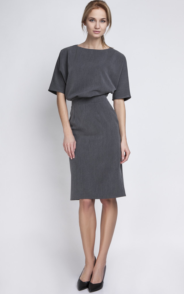 Charcoal Fitted Midi Dress by Lanti