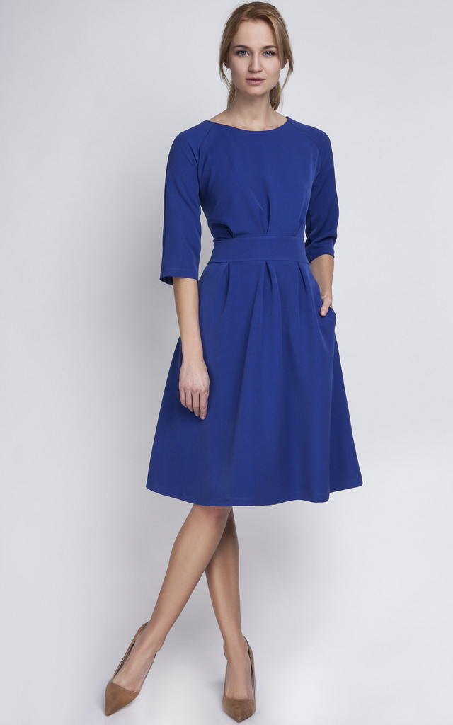 cobalt blue a line midi dress silkfred