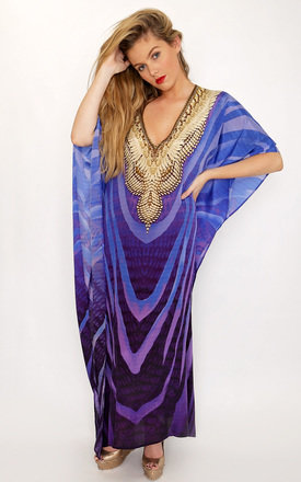 Luz Blue Printed Maxi Kaftan with long sleeves by Kitten Beachwear