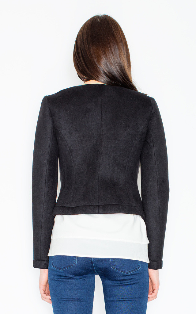 Black Buttonless Faux Suede Jacket by FIGL