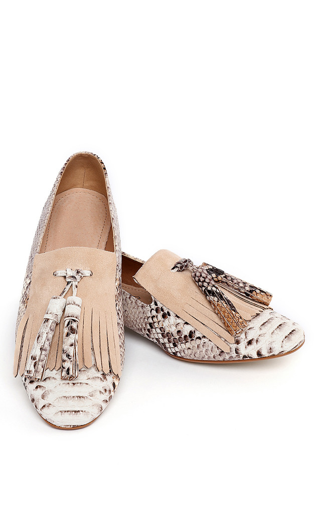Snake Print Loafer Pumps by Jezzelle