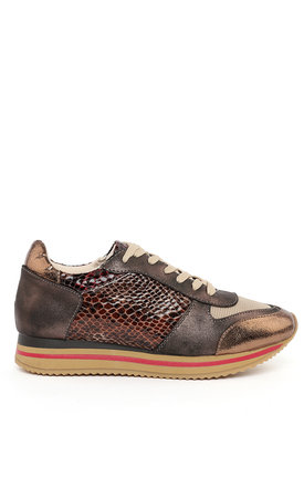 Faux Python & Leather Trainers by Jezzelle