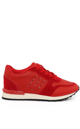 Studded Red Trainers by Jezzelle