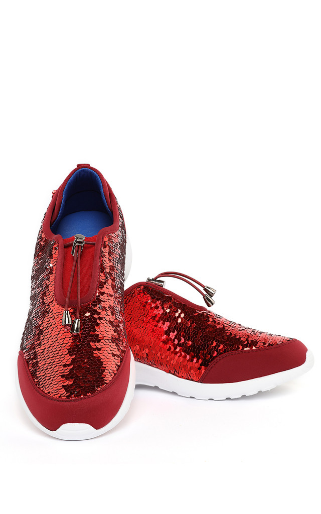 Red Sequinned Trainers by Jezzelle