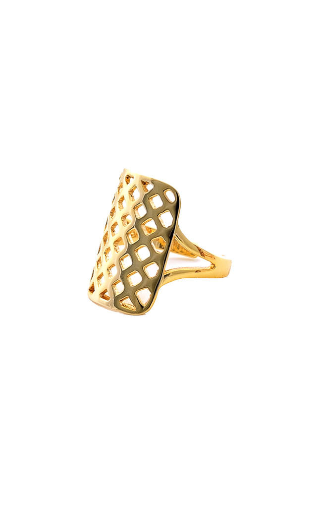 Grid gold midi/pinky ring by Meriko London