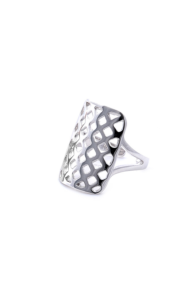 Grid silver midi/pinky ring by Meriko London