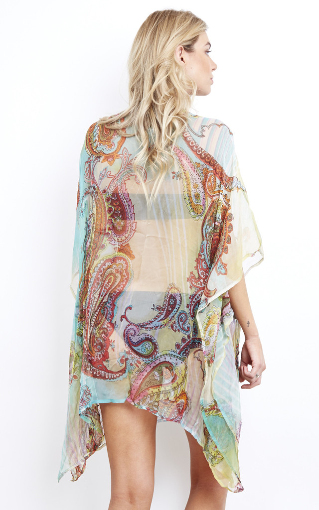 Guardalavaca Aqua Paisley P Beaded Deep V Kaftan by Kitten Beachwear
