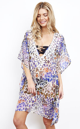 St Tropez Leopard Print Kaftan by Kitten Beachwear Product photo