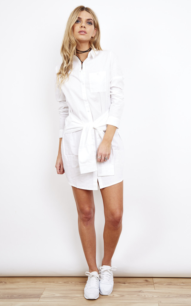 White Shirt Dress with Tie Waist by Noisy May