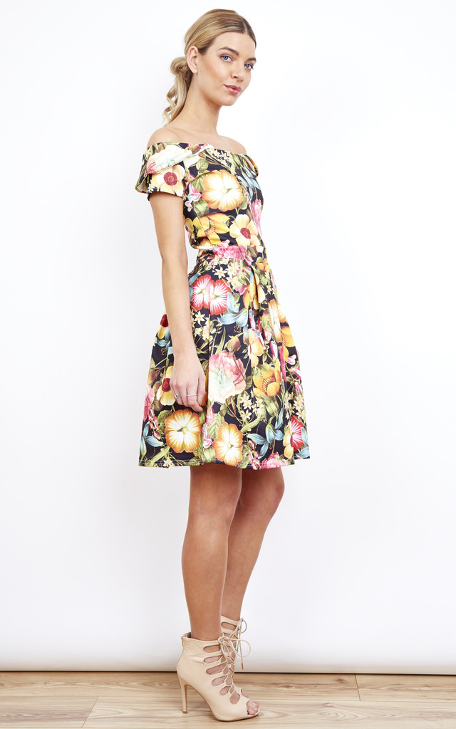 Off the Shoulder Skater Dress in Bright Floral Print by Bella and Blue