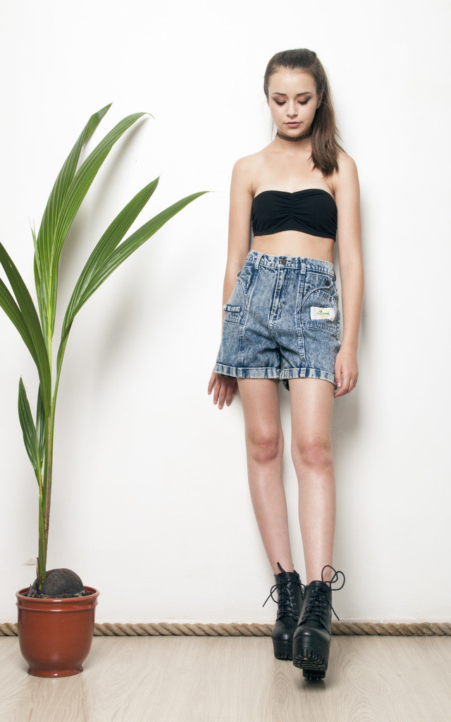 90s stonewashed high waisted denim shorts by Pop Sick Vintage