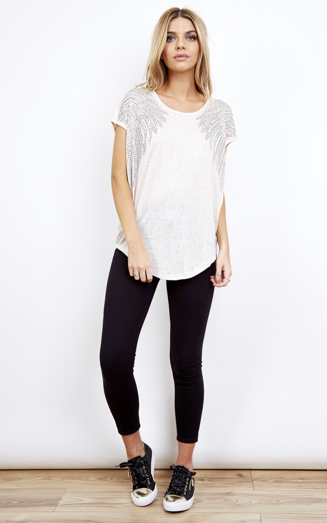 Oatmeal Diamante Shoulder Swing Top Short Sleeve by Bella and Blue