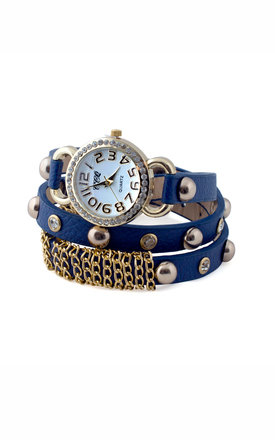 Diamanté Studded Blue Wrap Watch by Collections by Hayley