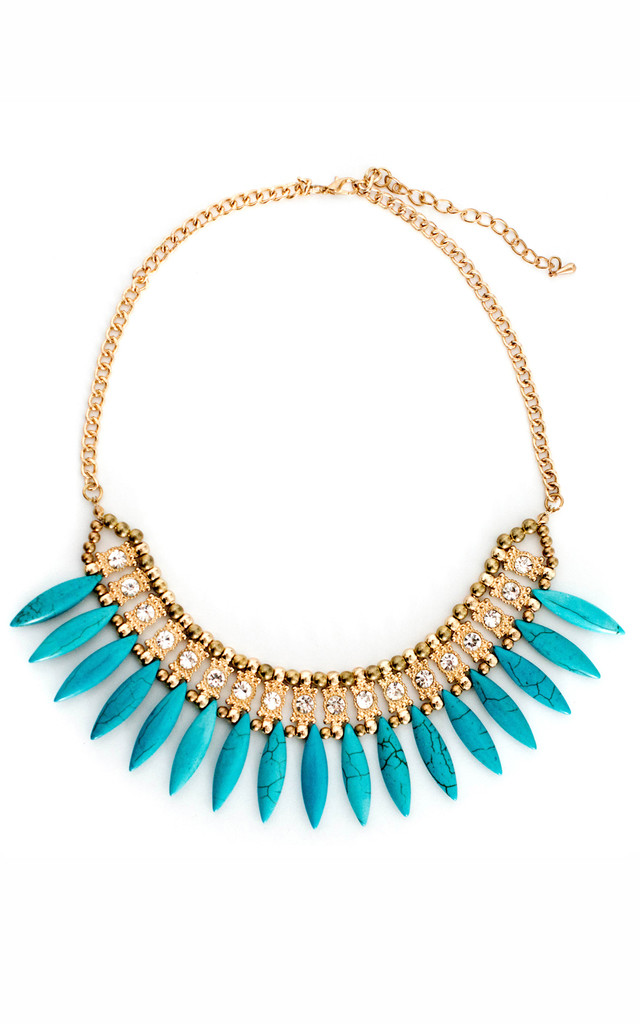 Forever Fanned Blue Statement Necklace by Collections by Hayley