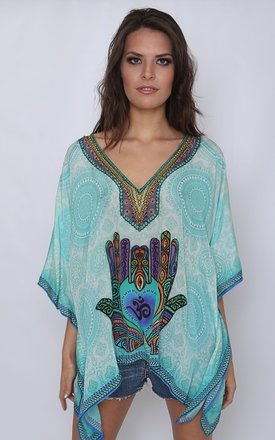 Hamsa Hand Print Kaftan Top by Kitten Beachwear Product photo