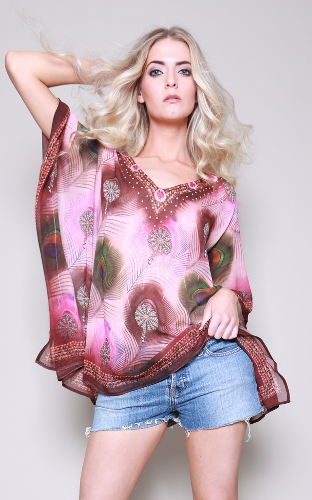 India Peacock Printed Kaftan Top by Kitten Beachwear