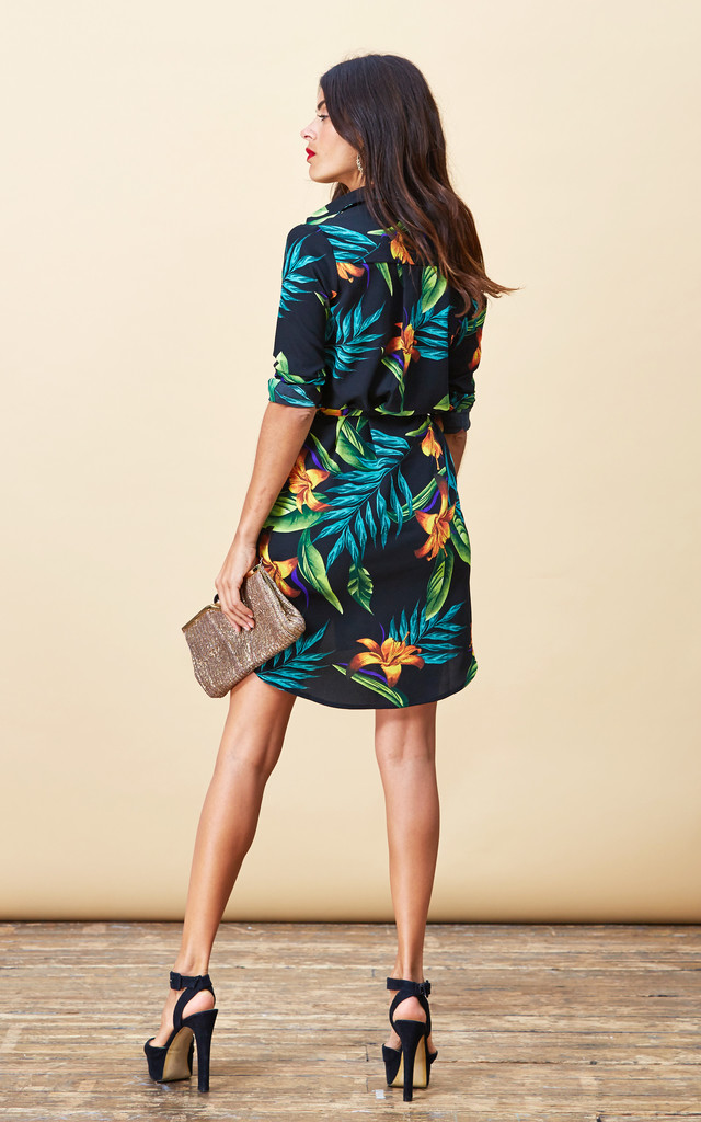 Mini Shirt Dress in Black Tropical image