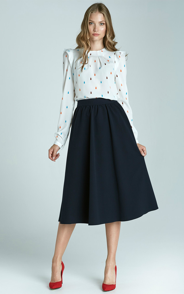 Navy Midi Skirt With Pockets by Lanti