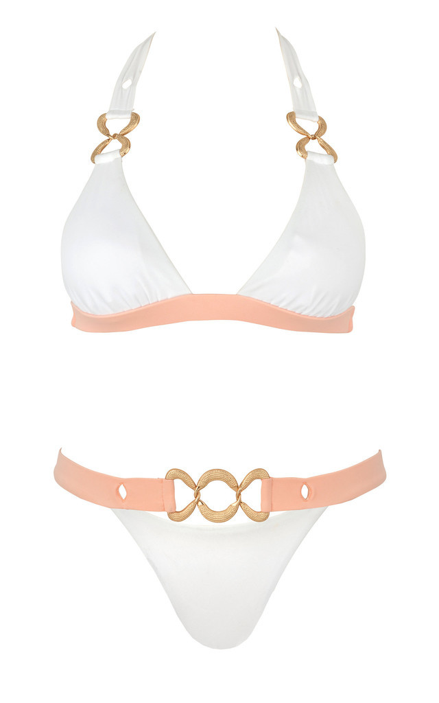 She's Got A Way White Triangle Bikini Top by SasSea Swimwear