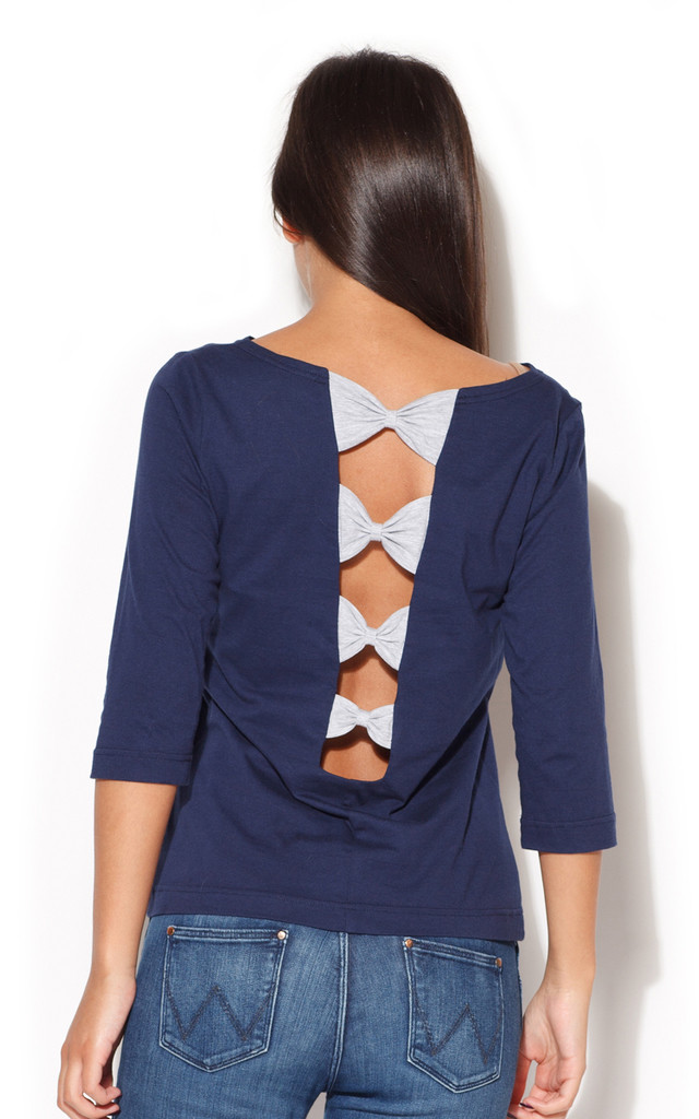 Navy 3/4 Length Sleeve Blouse with Bow Detail Back by KATRUS