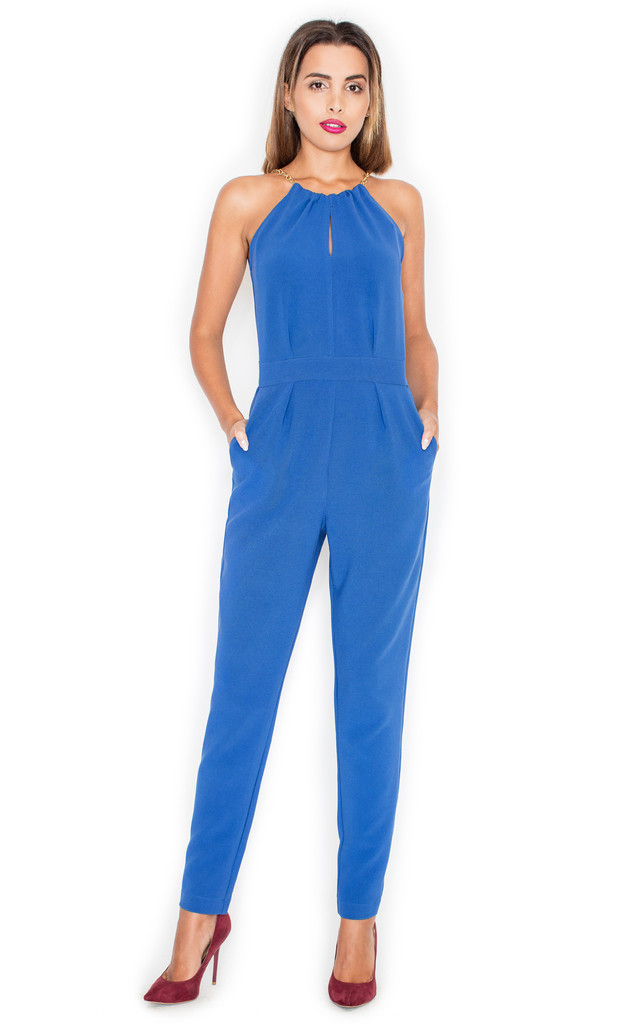b3100bba20127 Halter Neck Jumpsuit in Blue by KATRUS