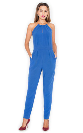 Halter Neck Jumpsuit In Blue by KATRUS Product photo