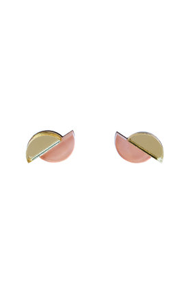 Split Circle Studs - Apricot / Gold by Wolf & Moon