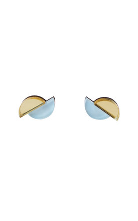 Split Circle Studs - Pastel Blue / Gold by Wolf & Moon