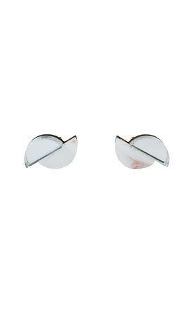 Split Circle Studs - Raspberry Ripple / Silver by Wolf & Moon