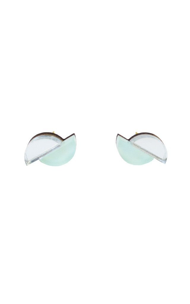 Split Circle Earrings Studs in Mint / Silver Acrylic by Wolf & Moon