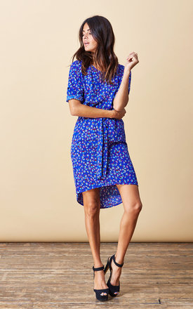 Chiquita Dress in Royal Blue Floral by Dancing Leopard