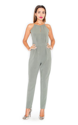 Halter Neck Jumpsuit In Khaki by KATRUS Product photo