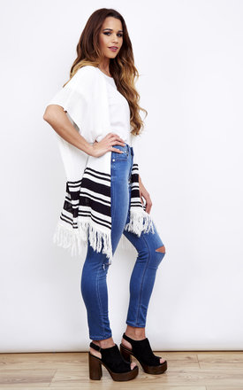 White Sleeveless Oversized Tassel Cardigan With Black Stripe by Bella and Blue