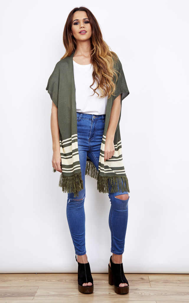 Khaki Sleeveless Oversized Tassel Cardigan With Cream Stripe by Bella and Blue