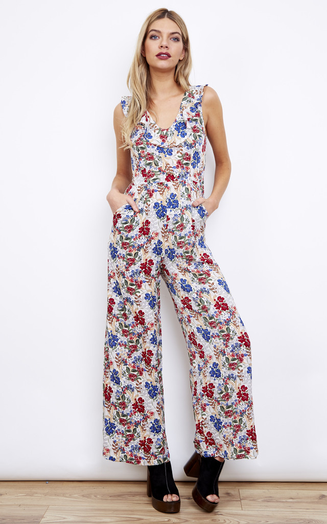 Cream Floral Frill Collar Sleeveless Jumpsuit by Lola May