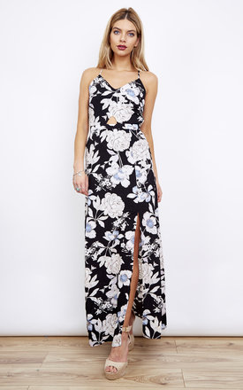 Black Floral Keyhole Maxi Dress with Side Split by Paisley Rain