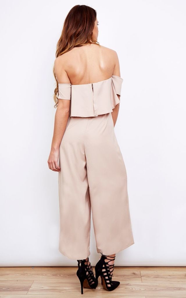 Off Shoulder Nude Frill Culotte Jumpsuit by Lola May