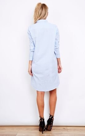Blue and White Stripe Shirt Dress by Noisy May