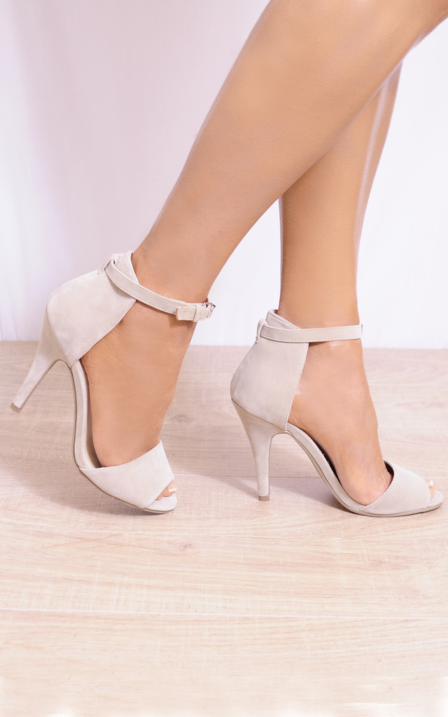 Beige Faux Suede Barely There Stilettos Strappy Sandals by Shoe Closet