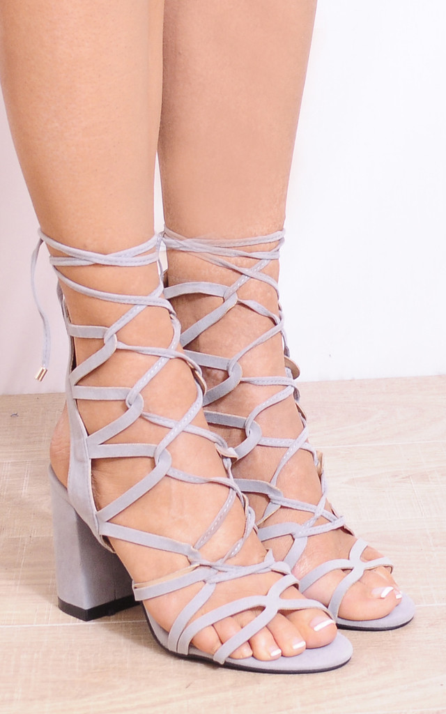 Grey Lace Ups Cut Out Strappy Sandals Peep Toes High Heels by Shoe Closet