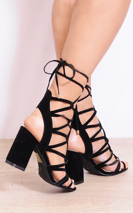 Black Lace Ups Cut Out Strappy Sandals Peep Toes High Heels by Shoe Closet