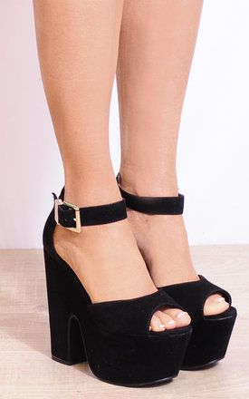 Black Faux Suede Wedged Platforms Wedges High Heels by Shoe Closet