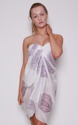 White Beach Sarong with Purple Leaf Design by Kitten Beachwear
