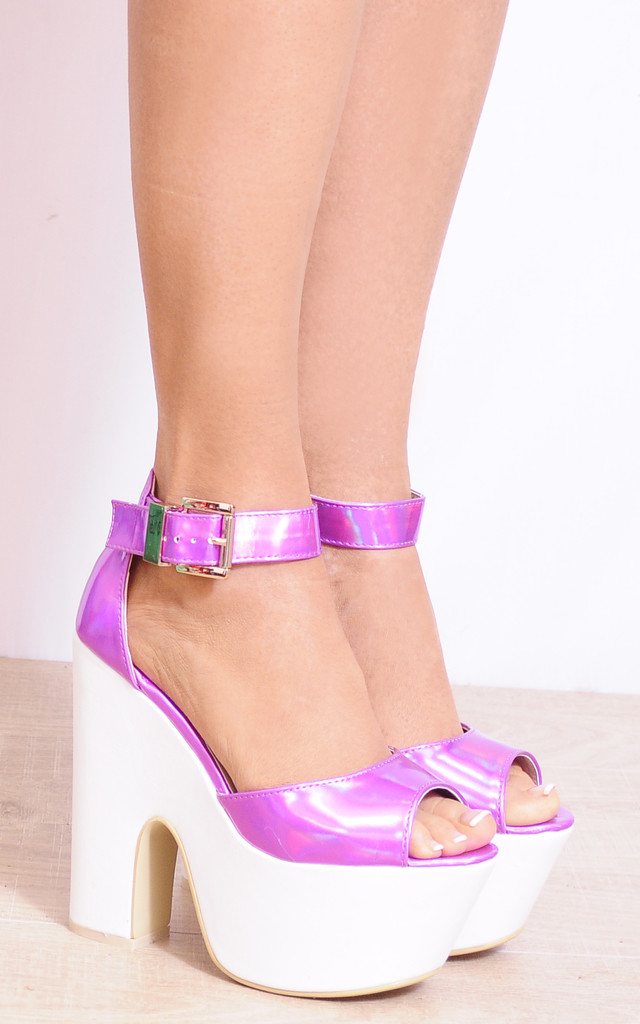 Pink Hologram White Wedged Platforms Wedges High Heels by Shoe Closet