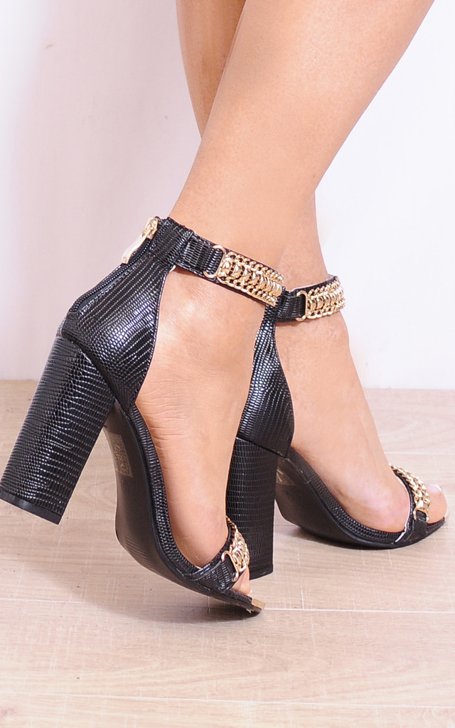 Black Gold Metal Chain Ankle Strap Strappy Sandals High Hels by Shoe Closet