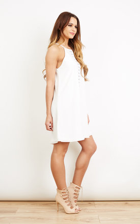 Stud Front Swing Dress Ivory by Oh My Love