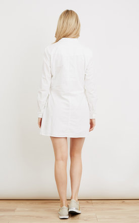 White Tie-Waist Shirt Dress by VM