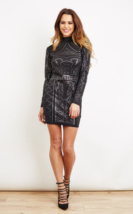 Black High Neck Long Sleeve Glitter Bodycon Dress by Lilah Rose